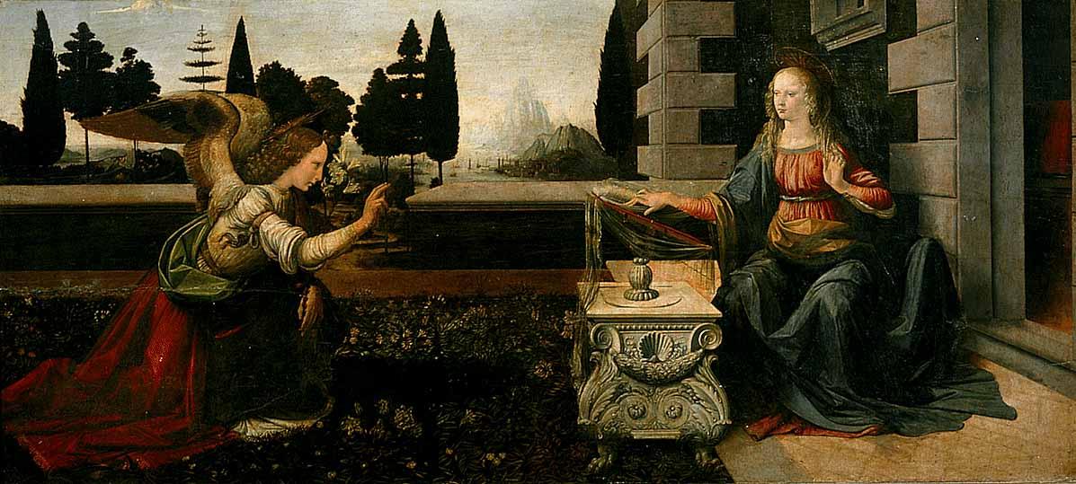 Annunciazione (Anunciação) de Leonardo da Vinci.