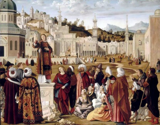 """Predica di Santo Stefano"" de Vittore Carpaccio. Museu do Louvre, Paris. Imagem: Visit Muve."